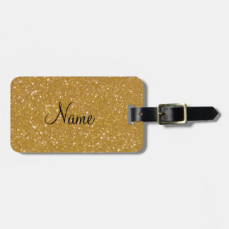 Gold glitter luggage tag with faux shiny glimmers