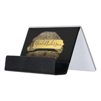 Gold Glitter Makeup Lipstick Lips Gold Foil Modern Desk Business Card Holder