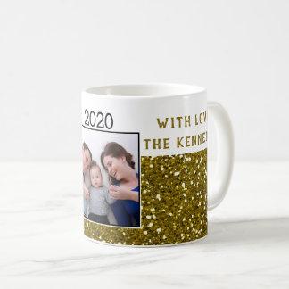 Gold Glitter Merry Christmas Family Photo Coffee Mug