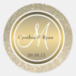 Gold Glitter & Metallic Bronze Wedding Monogram Round Sticker