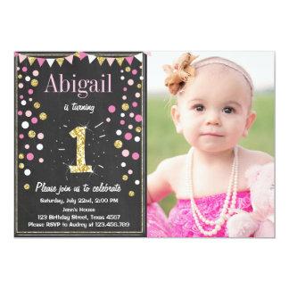 Gold glitter mint pink birthday invitation