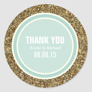 Gold Glitter & Mint Thank You Label Round Stickers