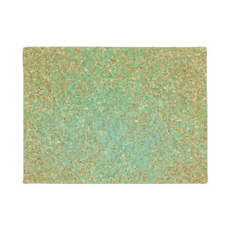 Gold Glitter Modern Trendy Glam Personalized Doormat