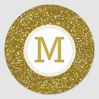 Gold Glitter Monogram Initial Round Sticker