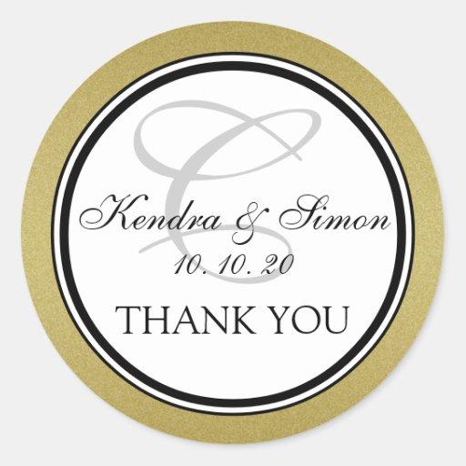 Gold Glitter Monogram Wedding Thank You Sticker
