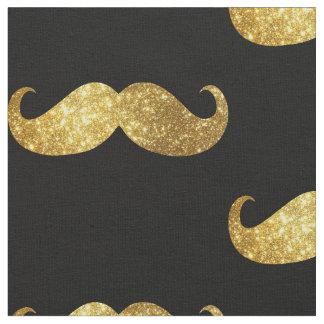 Gold Glitter Mustache Fabric