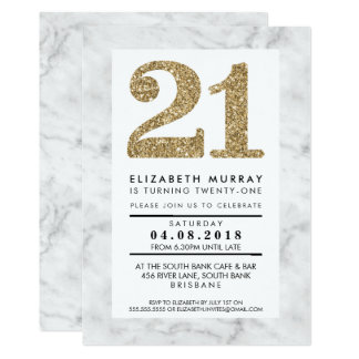 GOLD GLITTER NUMBER 21 21st INVITE simple marble