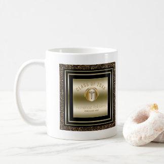 Gold Glitter Nurse Graduation   Caduceus Symbol Coffee Mug