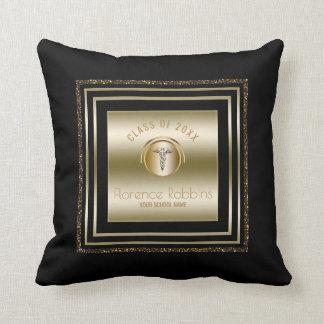 Gold Glitter Nurse Graduation | Caduceus Symbol Throw Pillow