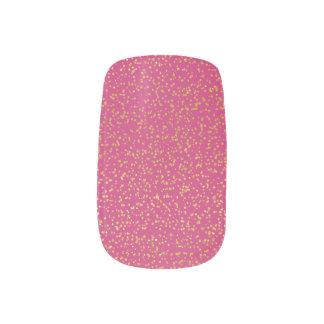 Gold Glitter on Dark Pink Nail Art