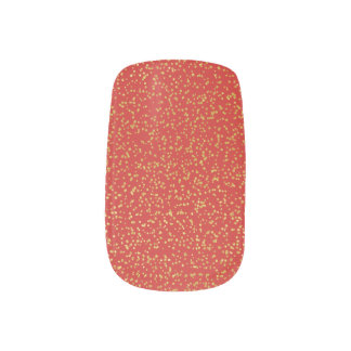 Gold Glitter on Red Nail Art