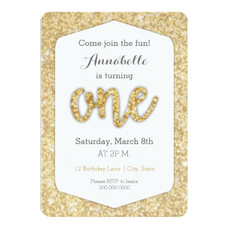"Gold Glitter ""One"" First Birthday Card"