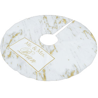 Gold Glitter Over White Marble Brushed Polyester Tree Skirt
