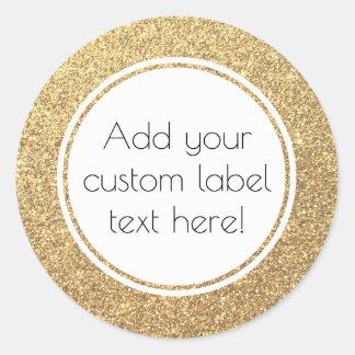 Gold Glitter Pattern Custom Craft Favour Wedding Round Sticker