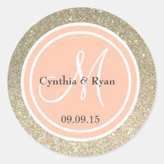 Gold Glitter & Peach Wedding Monogram Round Sticker