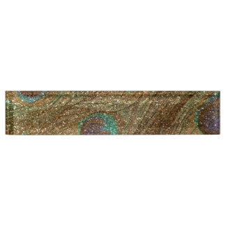 Gold glitter peacock feathers nameplate
