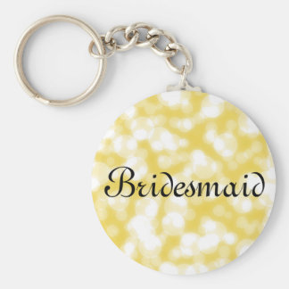 Gold Glitter Personalized Bridesmaid Basic Round Button Key Ring