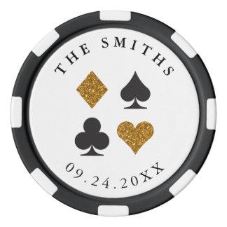 Gold Glitter Personalized Wedding Favor Gift Poker Chips