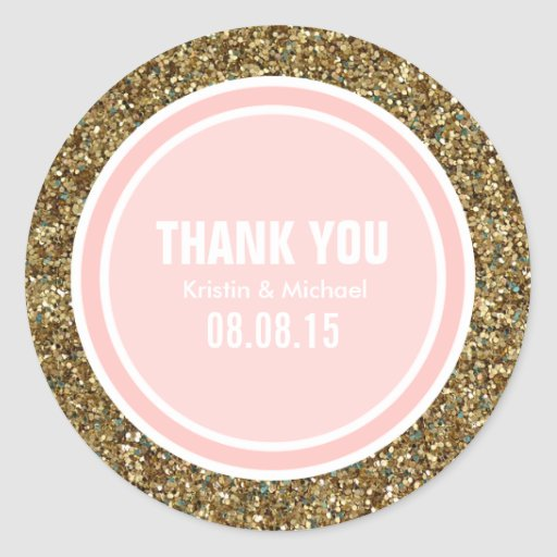 Gold Glitter & Petal Pink Thank You Label Sticker