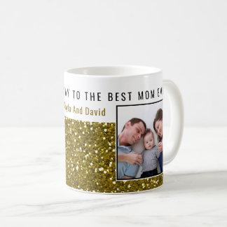 Gold Glitter Photo Best Mom Ever Coffee Mug