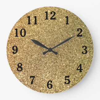 Gold Glitter Photo Black Numbers Large Clock