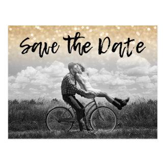 Gold Glitter Photo Wedding Invitation | Save Date Postcard