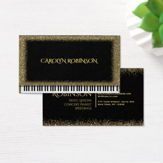 Gold Glitter Piano Business Card