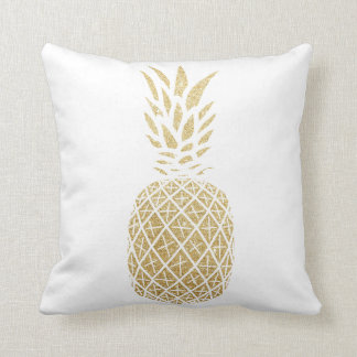 Gold Glitter Pineapple Tropical Throw Pillow Beach