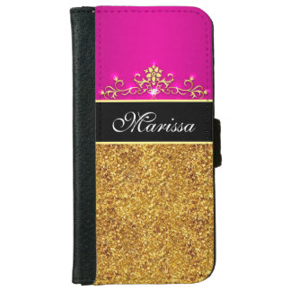 Gold Glitter Pink and Black iPhone 6 Wallet Case