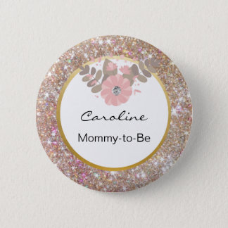 Gold Glitter Pink Baby Shower Mommy-to-Be Name Tag 6 Cm Round Badge