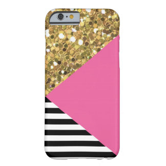 Gold Glitter, Pink, Black & White iPhone 6 Case
