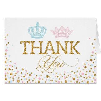 Gold Glitter Pink Blue Royal Twins Thank You Card