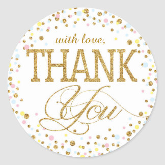 Gold Glitter Pink Blue Yellow Thank You Label Round Sticker