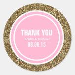 Gold Glitter Pink Custom Thank You Label Round Sticker