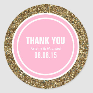 Gold Glitter Pink Custom Thank You Label Round Sticker