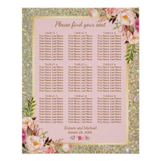 Gold Glitter Pink Floral 9 Tables Seating Chart