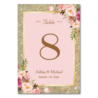 Gold Glitter Pink Floral Wedding Table Number