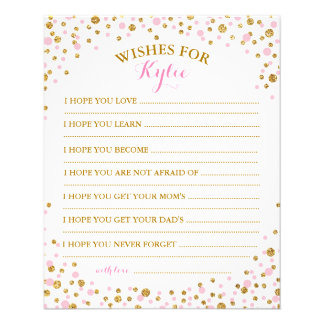 Gold Glitter Pink Sprinkle Confetti Baby Wish Card 11.5 Cm X 14 Cm Flyer