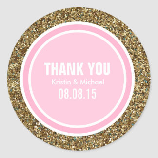 Gold Glitter & Pink Thank You Label Round Sticker