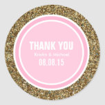 Gold Glitter & Pink Thank You Label Round Stickers