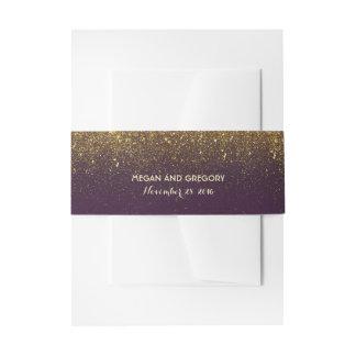 Gold Glitter Plum Vintage Wedding Invitation Belly Band