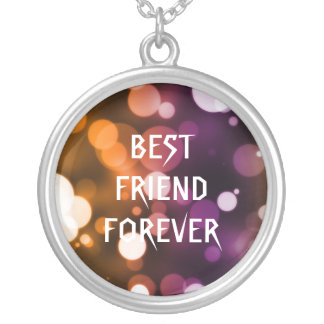 Gold Glitter Polka Dots Best Friends Forever Silver Plated Necklace