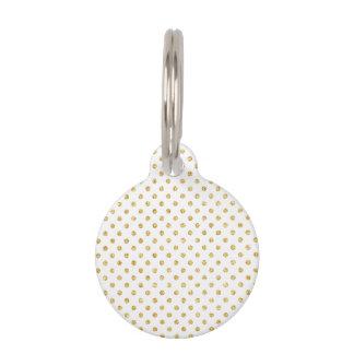 Gold Glitter Polka Dots Pattern Pet Name Tag
