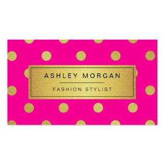 Gold Glitter Polka Dots - Stylish Beauty Pink Business Card Templates