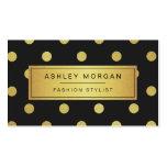 Gold Glitter Polka Dots - Trendy Black White Pack Of Standard Business Cards