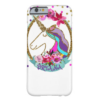 Gold Glitter Polka Dots Unicorn Sparkle Glitter Barely There iPhone 6 Case