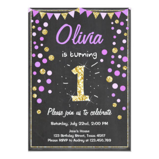 Gold Glitter Purple Pink Birthday Invitation