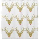 Gold Glitter Rudolph Reindeer Shower Curtain