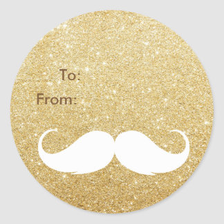 Gold Glitter Santa Mustache Holiday Gift Tag