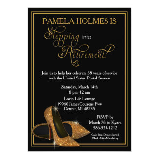 Gold Glitter Shoes Retirement Party Card